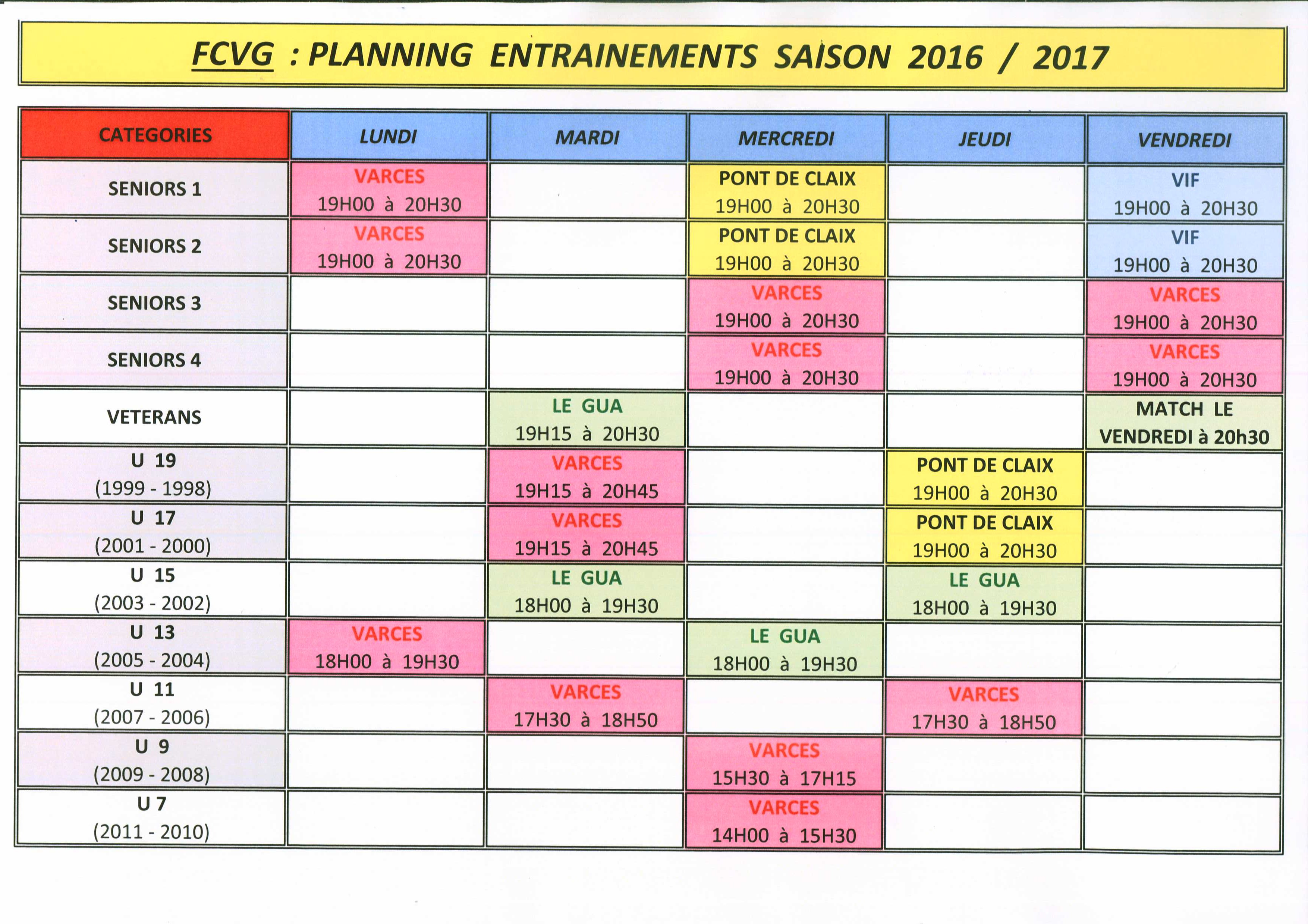 Planning Entraînements 2016.2017